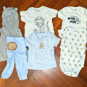 12m Carter's Lion themed lot bodysuit, shirts, etc